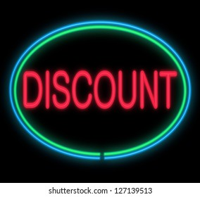 Illustration depicting a neon signage with a discount concept.