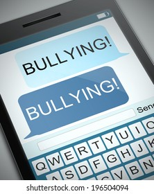 Illustration depicting a phone with a bullying concept.