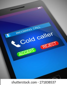 Illustration depicting a phone with a cold caller concept.