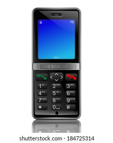 Illustration depicting a phone with an illuminated screen. White background.