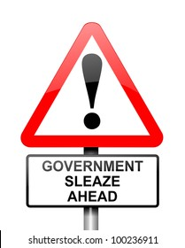 Illustration depicting red and white triangular warning road sign with a government sleaze concept. White background.