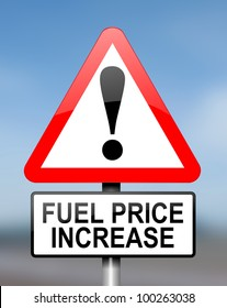Illustration depicting red and white triangular warning road sign with a fuel price concept. .