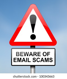 Illustration depicting red and white triangular warning road sign with an email scam concept. Blue blur background.