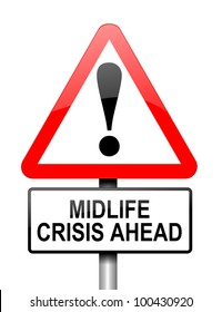 Illustration depicting red and white triangular warning road sign with a midlife crisis concept. White background.