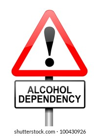 Illustration depicting red and white triangular warning road sign with a alcohol dependency concept. White background.