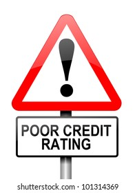 Illustration depicting a red and white triangular warning sign with a credit rating concept. White background.