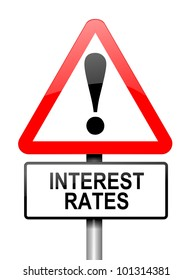 Illustration depicting a red and white triangular warning sign with an interest rates concept. White background.