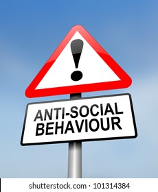 Illustration depicting a red and white triangular warning sign with a anti social behaviour concept. Blurred sky background.