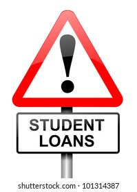 Illustration depicting a red and white triangular warning sign with a student loans concept. White background.