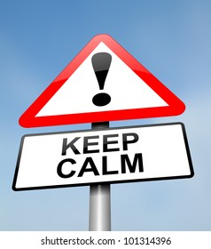Illustration depicting a red and white triangular warning sign with a keeping calm concept. Blurred sky background.