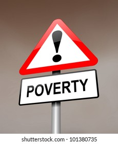Illustration depicting a red and white triangular warning sign with a poverty concept.Dark blurred sky background.