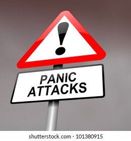 Illustration depicting a red and white triangular warning sign with a panic attack concept. Blurred dark sky background.