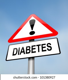 Illustration depicting a red and white triangular warning sign with a diabetes concept. Blurred sky background.