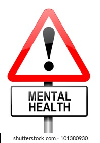 Illustration depicting a red and white triangular warning sign with a mental health concept.White background.