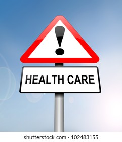 Illustration depicting a red and white triangular warning sign with a 'healthcare' concept. Blurred blue sky background.