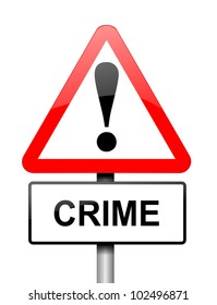 Illustration depicting a red and white triangular warning sign with a 'crime' concept. White background.