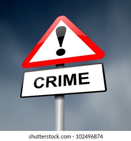 Illustration depicting a red and white triangular warning sign with a 'crime' concept. Blurred dark sky background.