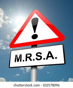 Illustration depicting a red and white triangular warning sign with a 'm.r.s.a.' concept. Sky background.