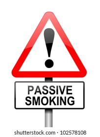 Illustration depicting a red and white triangular warning sign with a 'passive smoking' concept. White background.