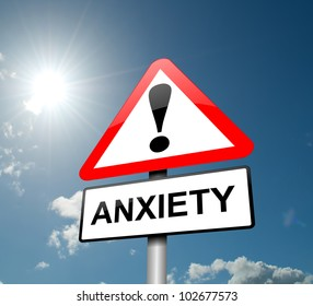Illustration depicting a red and white triangular warning sign with an 'anxiety' concept. Sky background.