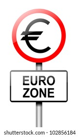 Illustration depicting a road traffic sign with a euro zone concept. White background.