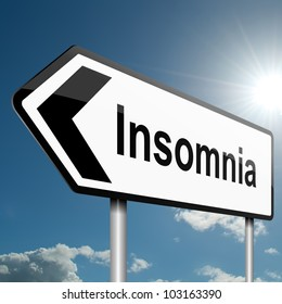 Illustration depicting a road traffic sign with a insomnia concept. Blue sky background.