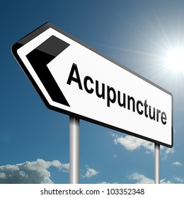 Illustration depicting a road traffic sign with an acupuncture concept. Blue sky background.