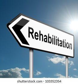 Illustration depicting a road traffic sign with a rehabilitation concept. Blue sky background.