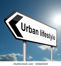 Illustration depicting a road traffic sign with an urban lifestyle concept. Blue sky background.