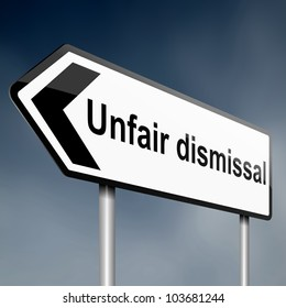 Illustration depicting a road traffic sign with an unfair dismissal cost concept. Dark sky background.