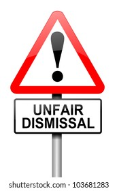 Illustration depicting a road traffic sign with an unfair dismissal cost concept. White background.