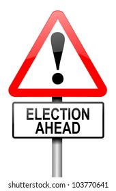 Illustration depicting a road traffic sign with a election concept. White background.