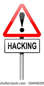 Illustration depicting a road traffic sign with a hacking concept. White background.