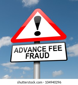 Illustration depicting a road traffic sign with an advance fee fraud  concept. Blue sky background.