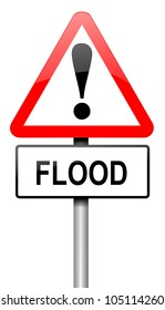 Illustration depicting a road traffic sign with a flood warning. White background.