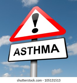 Illustration depicting a road traffic sign with an asthma concept. Blue sky background.