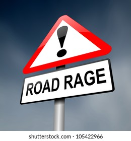 Illustration depicting a road traffic sign with a road rage concept. Dark sky background.