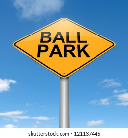 Illustration depicting a roadsign with a ball park concept. Sky background.