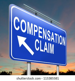 Illustration depicting a roadsign with a compensation claim concept. Dusk sky background.