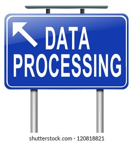 Illustration depicting a roadsign with a data processing concept. White background.