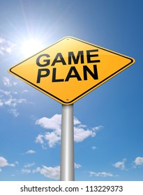 Illustration depicting a roadsign with a game plan concept. Sunlight and sky background.