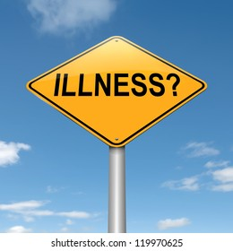 Illustration depicting a roadsign with an illness concept. Sky background.