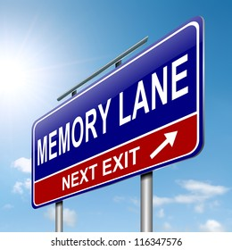 Illustration depicting a roadsign with a memory lane concept. Sky background.