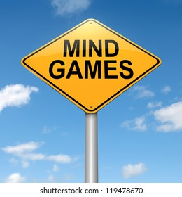 Illustration depicting a roadsign with a mind games concept. Sky background.