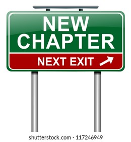 Illustration depicting a roadsign with a new chapter concept. White background.