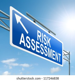 Illustration depicting a roadsign with a risk assessment concept. Sky background.