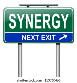 Illustration depicting a roadsign with synergy concept. White background.