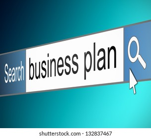 Illustration depicting a screen shot of an internet search bar containing a business plan concept.