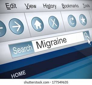 Illustration depicting a screenshot of an internet search with a migraine concept.