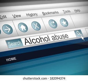 Illustration depicting a screenshot of an internet search with an alcohol abuse concept.
